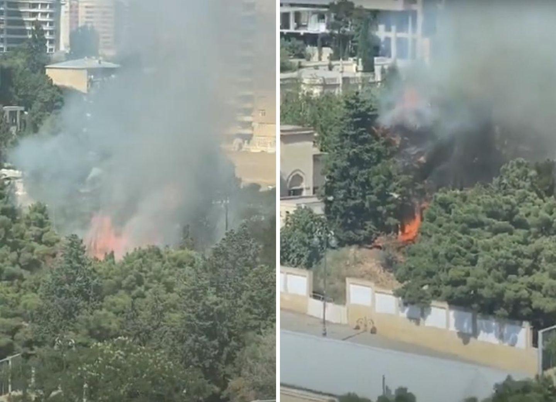 Потушен сильный пожар, вспыхнувший в центре Баку у посольства – ФОТО – ВИДЕО – ОБНОВЛЕНО