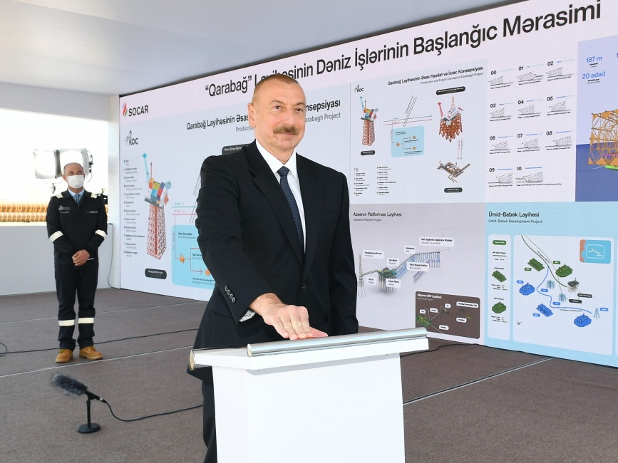 Ильхам Алиев принял участие в церемонии отправки в море опорного блока месторождения «Карабах» - ФОТО