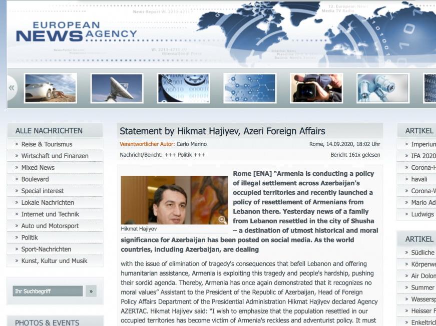 Европейское новостное агентство опубликовало интервью Хикмета Гаджиева относительно незаконного заселения Армении