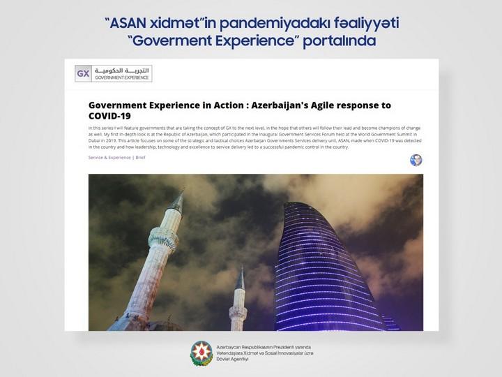 """""""ASAN xidmət""""in fəaliyyəti dünyanın nüfuzlu portalında dərc olunub"""
