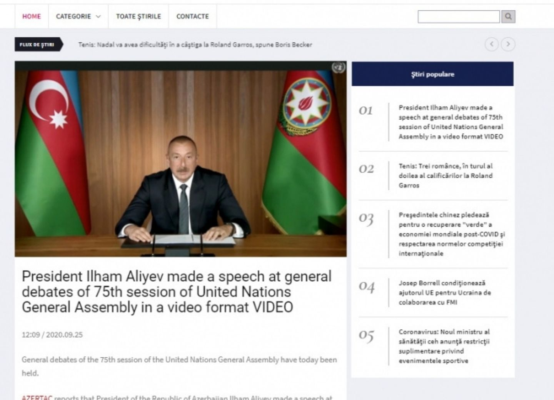 Румынский портал News24hours опубликовал выступление Президента Ильхама Алиева на общих дебатах 75-й сессии Генеральной ассамблеи ООН