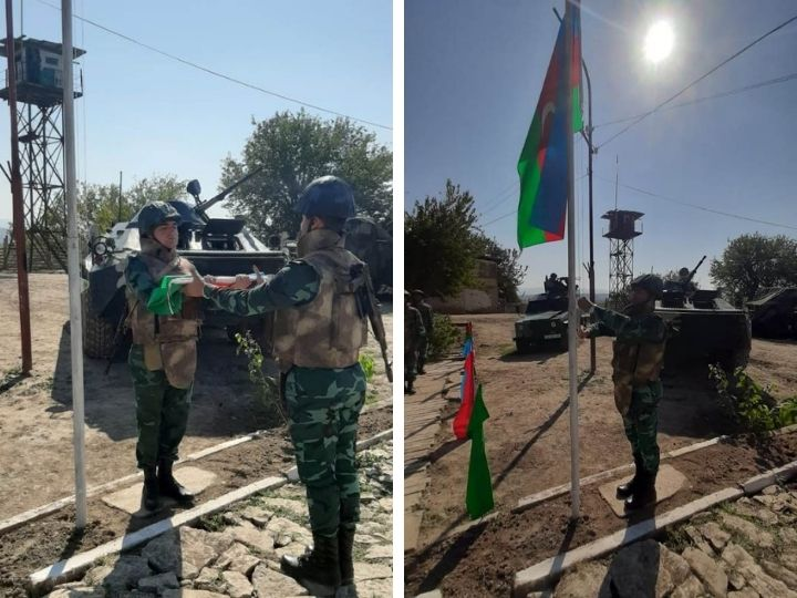 Над освобожденными от оккупации погранзаставами поднят флаг Азербайджана - ФОТО - ВИДЕО