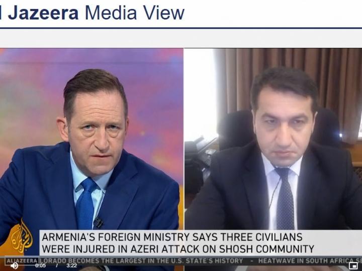 """Hikmət Hacıyevin """"Al Jazeera"""" televiziya kanalına müsahibəsi - VİDEO"""
