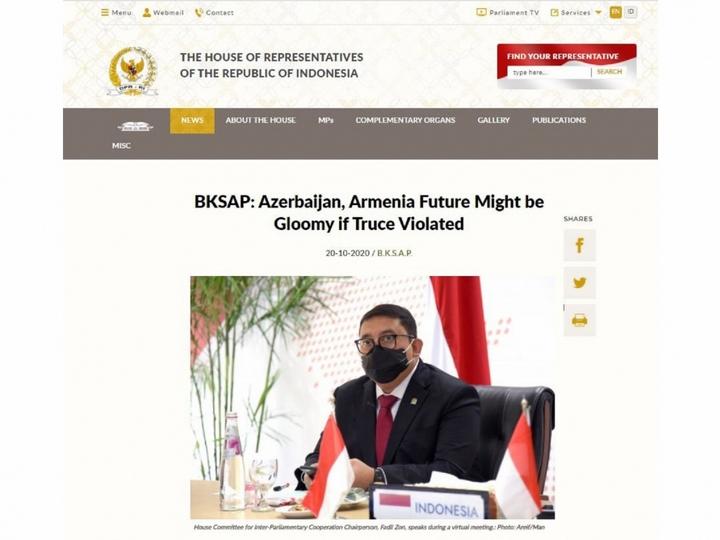 İndoneziya parlamenti bir daha Ermənistanın işğal olunmuş Azərbaycan torpaqlarından çıxmasını tələb edir