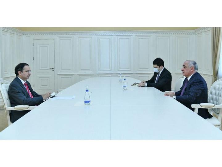 Премьер-министр Азербайджана встретился с послом Пакистана