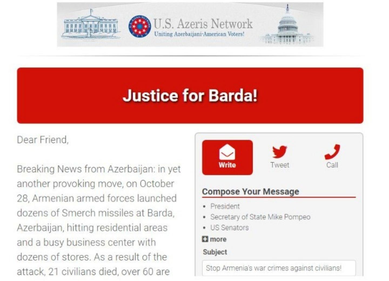 Сеть азербайджанцев США начала кампанию по информированию американской общественности о ракетном обстреле Барды