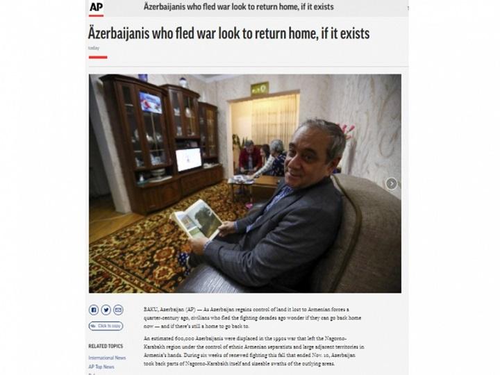 """""""Associated Press"""" azərbaycanlı məcburi köçkünlərin öz doğma yurdlarına qayıtmaq arzularından yazır"""