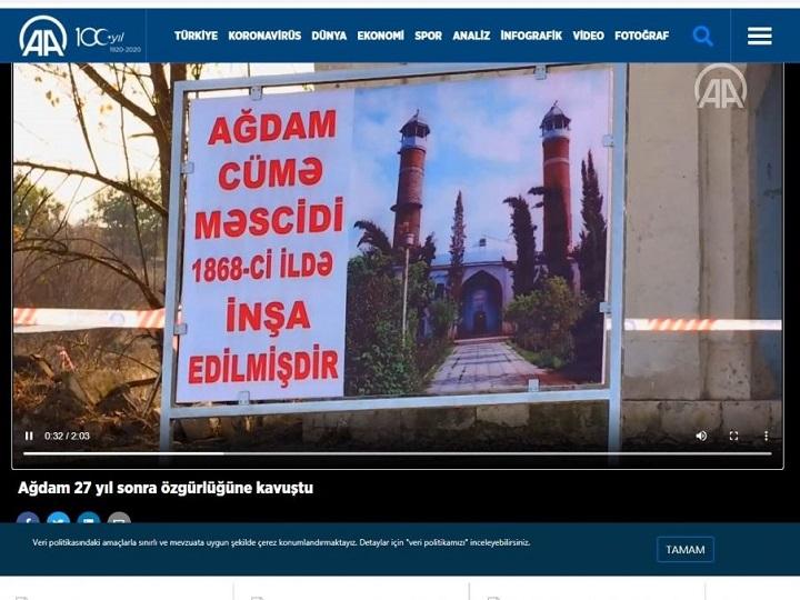 Anadolu agentliyi Ağdam rayonunun görüntülərini əks etdirən videomaterial yayımlayıb – FOTO