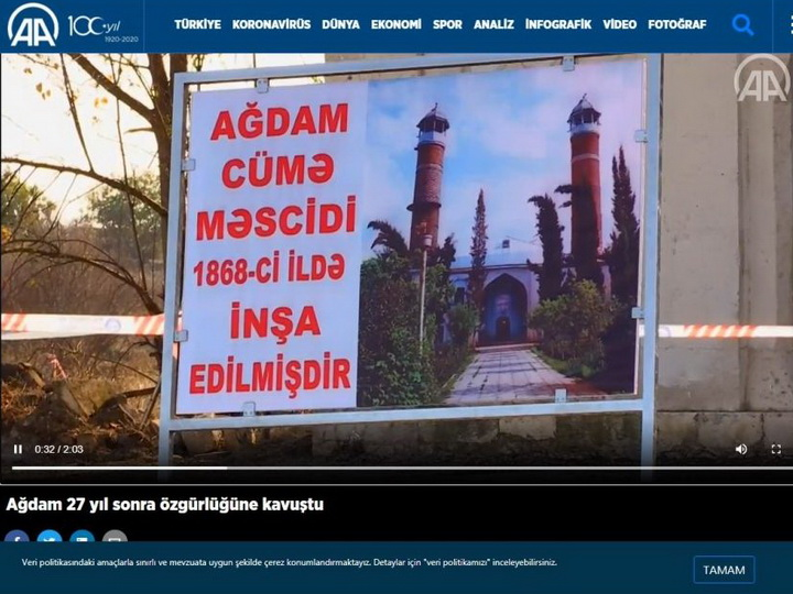 Агентство «Анадолу» опубликовало видеоматериалы Агдамского района – ВИДЕО