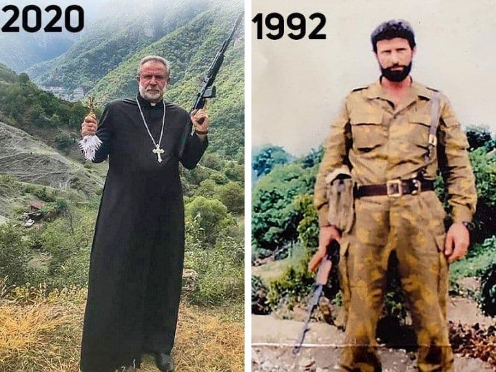 Настоятель с крестом и автоматом: Отец Тер-Ованес, убивавший азербайджанцев, сбежал в Ереван - ФОТО