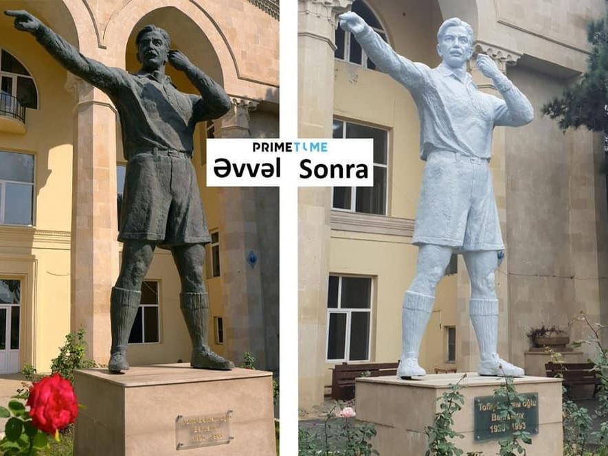 Неожиданно: В Баку перекрасили памятник Тофику Бахрамову – ФОТОФАКТ