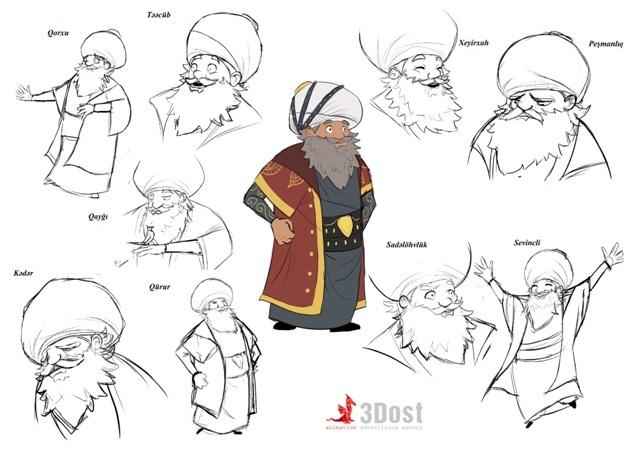 В сети представлены персонажи азербайджанского 3D-мультфильма «Джиртдан и волшебный халат» – ФОТО