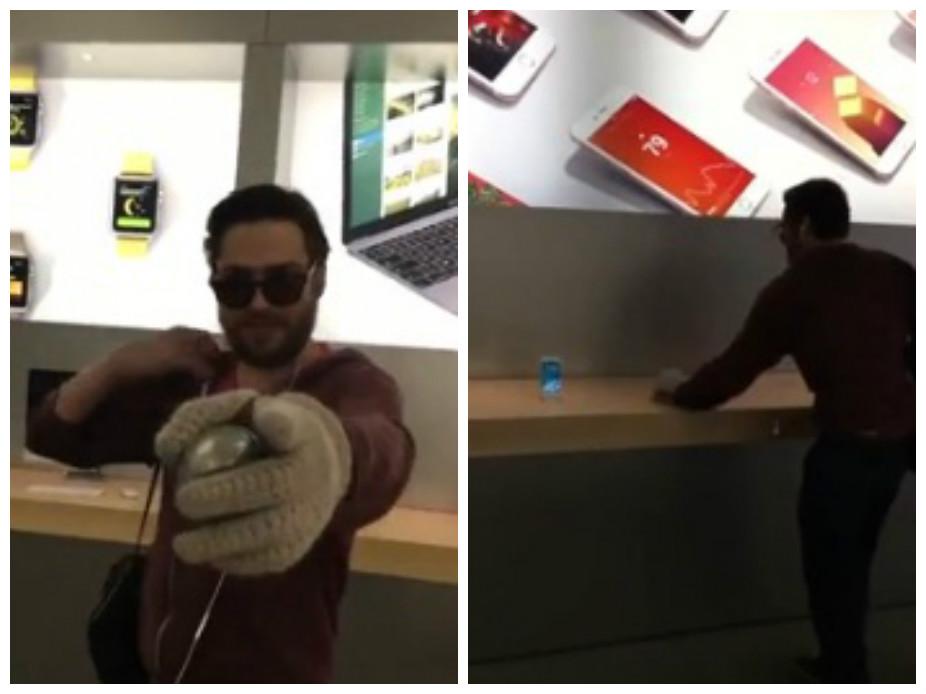 Клиент вмагазине Apple перебил практически все iPhone шаром для петанка