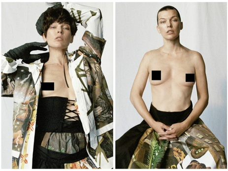Сорокалетняя Милла Йовович показала грудь