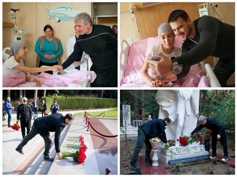 EMIN, Сосо Павлиашвили и Кети Топурия посетили Детскую клинику Национального центра онкологии и Аллею почетного захоронения - ФОТО