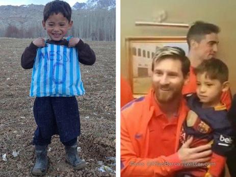 Месси встретился сафганским парнем вфутболке изпакета