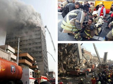 Неменее 30 пожарных погибли при обрушении здания вТегеране