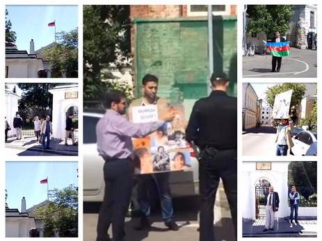 Одиночный пикет. Азербайджанец провел акцию протеста перед посольством Армении в Москве - ВИДЕО