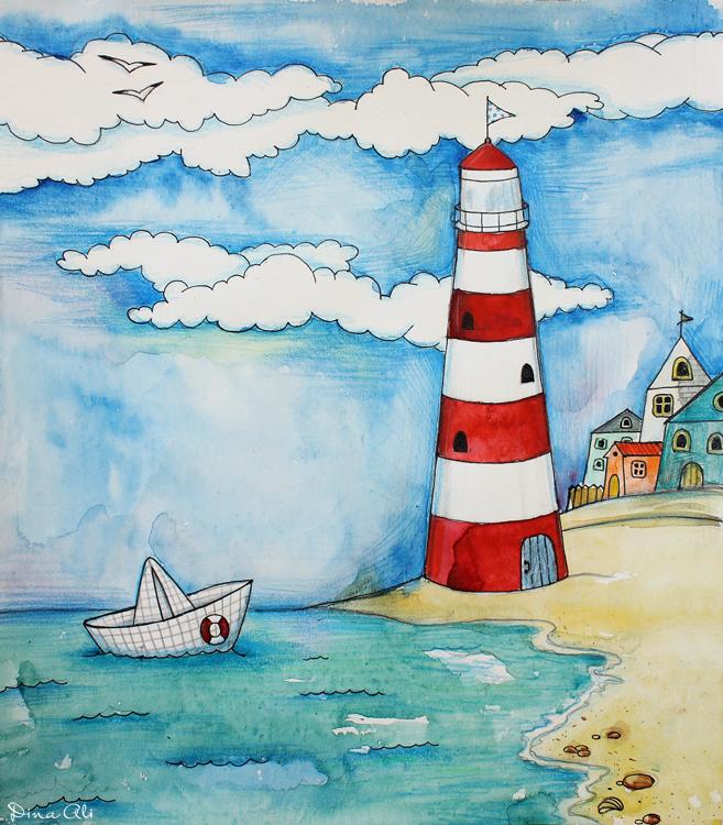 Рисунки маяк и корабль рисунки
